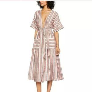 """Free People 'Monday Midi"""" Striped Dress Small"""